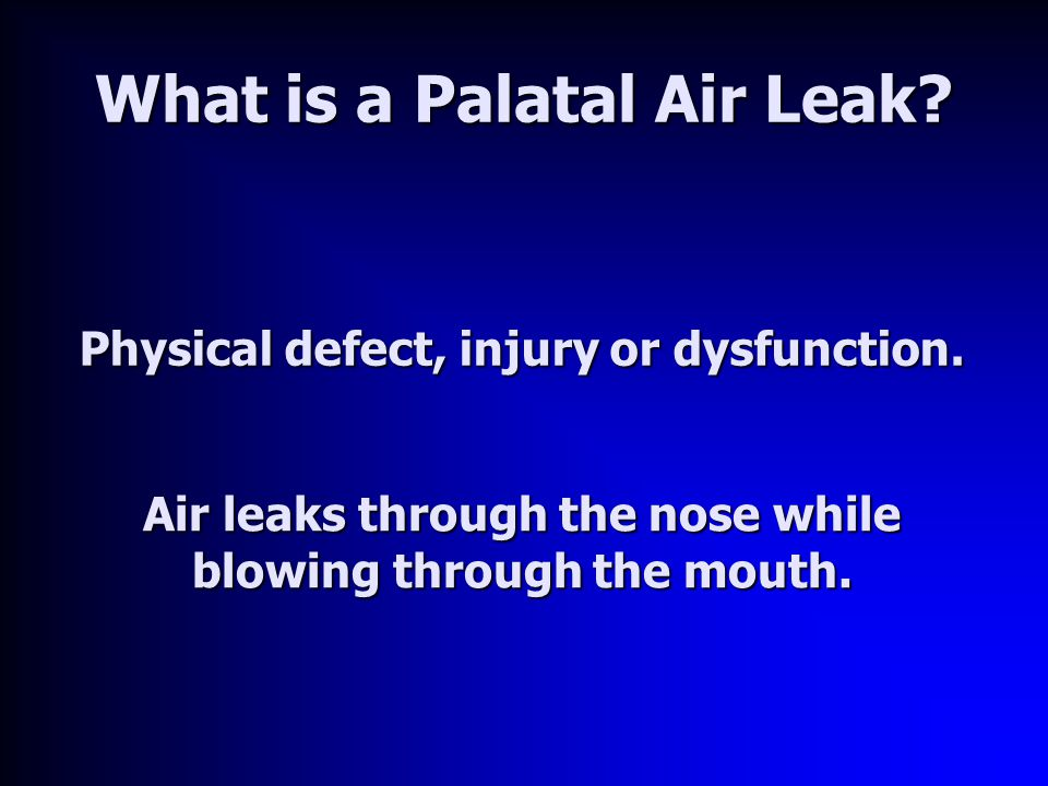 What is a Palatal Air Leak. Physical defect, injury or dysfunction.