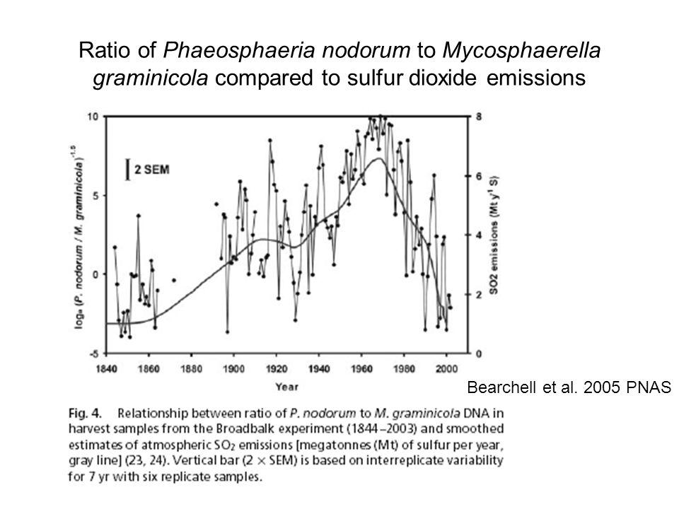 Ratio of Phaeosphaeria nodorum to Mycosphaerella graminicola compared to sulfur dioxide emissions Bearchell et al.