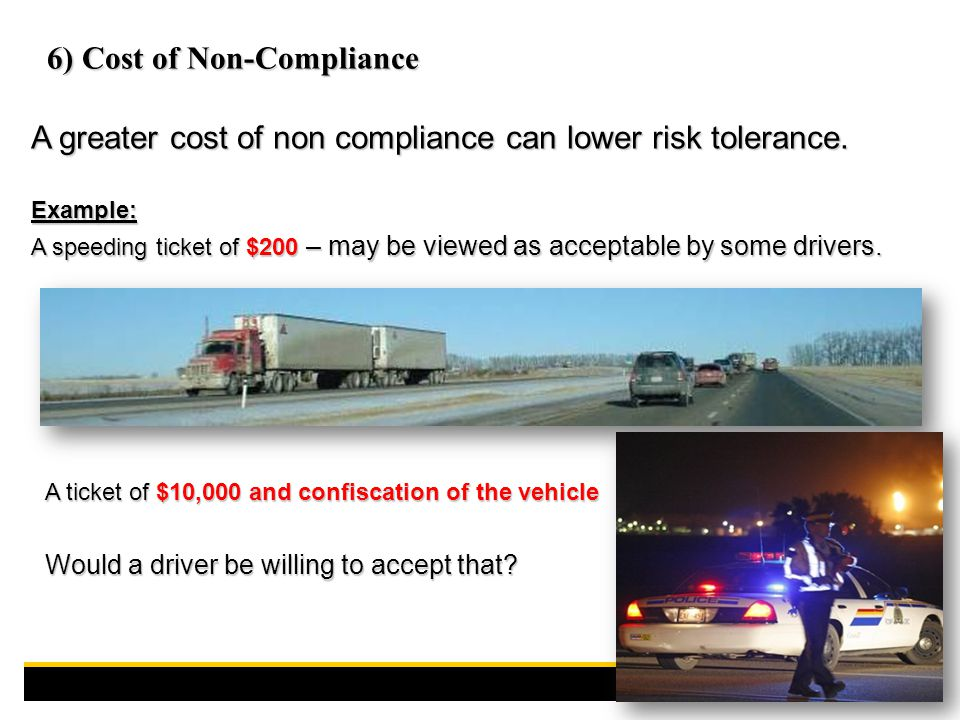 A greater cost of non compliance can lower risk tolerance.