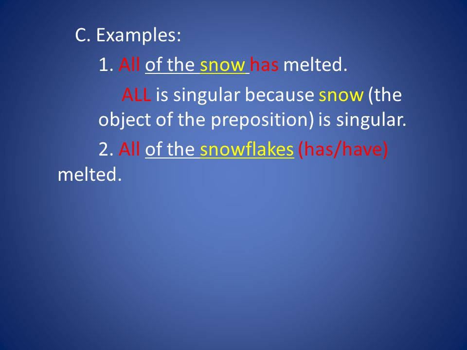 C. Examples: 1. All of the snow has melted.