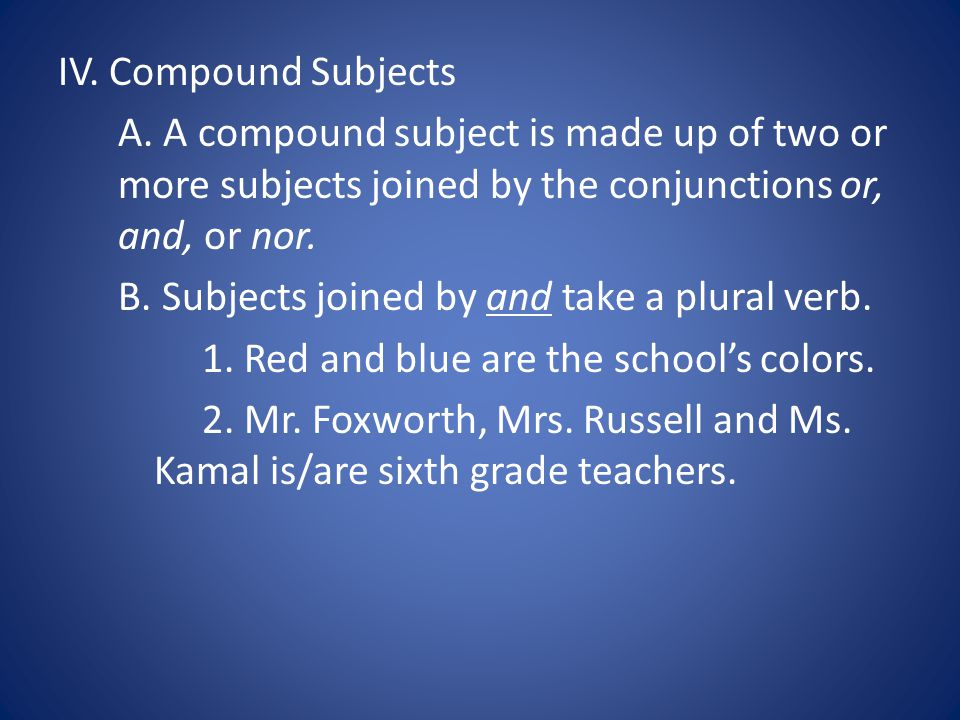 IV.Compound Subjects A.
