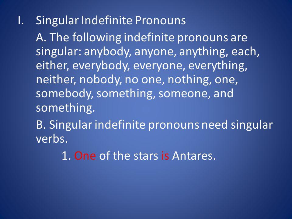 I.Singular Indefinite Pronouns A.