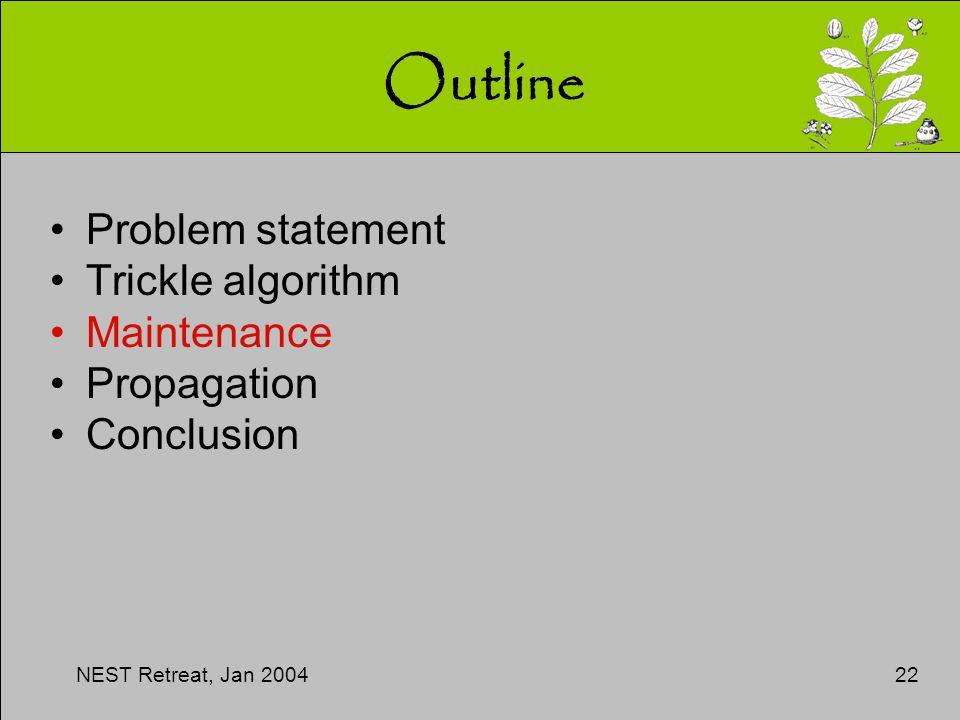 NEST Retreat, Jan 200422 Outline Problem statement Trickle algorithm Maintenance Propagation Conclusion