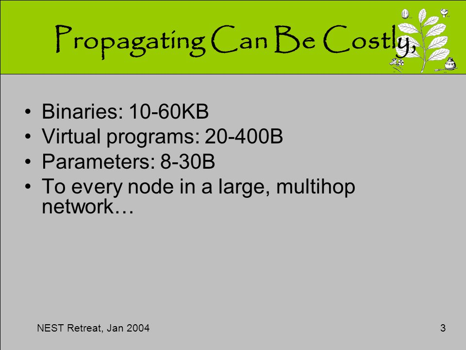 NEST Retreat, Jan 20043 Propagating Can Be Costly, Binaries: 10-60KB Virtual programs: 20-400B Parameters: 8-30B To every node in a large, multihop network…