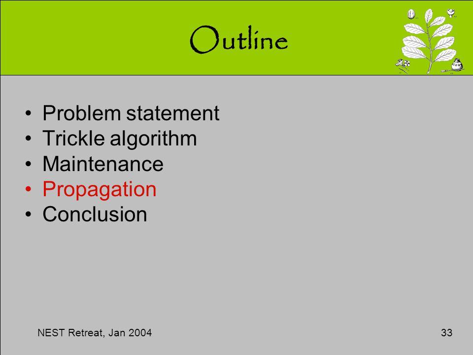NEST Retreat, Jan 200433 Outline Problem statement Trickle algorithm Maintenance Propagation Conclusion
