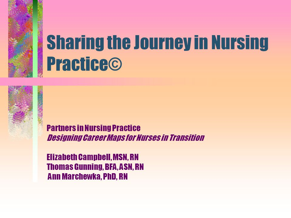 Sharing the Journey in Nursing Practice© Partners in Nursing Practice Designing Career Maps for Nurses in Transition Elizabeth Campbell, MSN, RN Thoma
