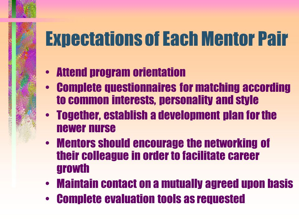Expectations of Each Mentor Pair Attend program orientation Complete questionnaires for matching according to common interests, personality and style