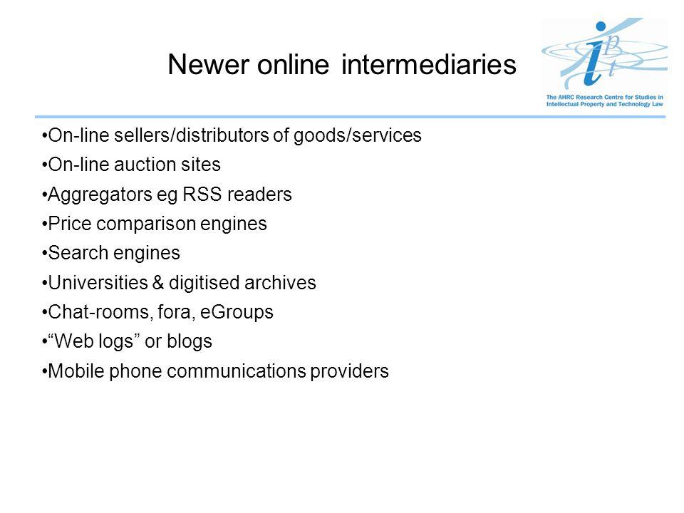 P2P intermediaries 1.Centralised index P2P intermediaries eg first Napster 2.