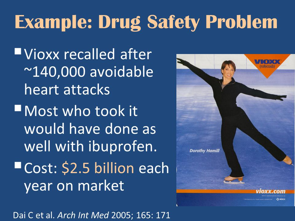 Example: Drug Safety Problem  Vioxx recalled after ~140,000 avoidable heart attacks  Most who took it would have done as well with ibuprofen.  Cost