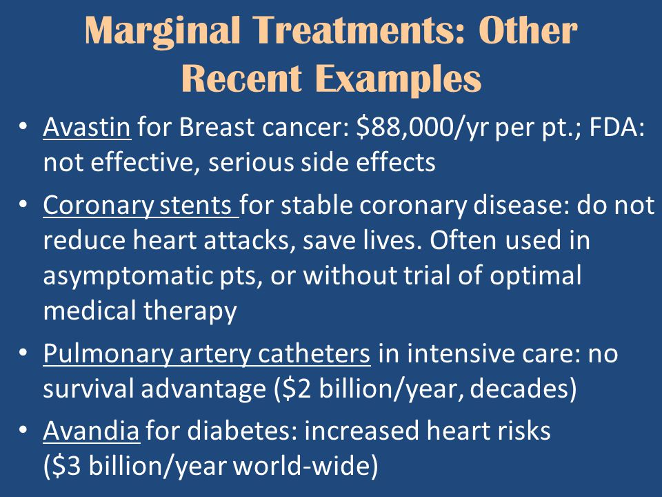 Marginal Treatments: Other Recent Examples Avastin for Breast cancer: $88,000/yr per pt.; FDA: not effective, serious side effects Coronary stents for
