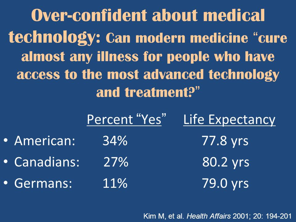 "Over-confident about medical technology: Can modern medicine ""cure almost any illness for people who have access to the most advanced technology and t"
