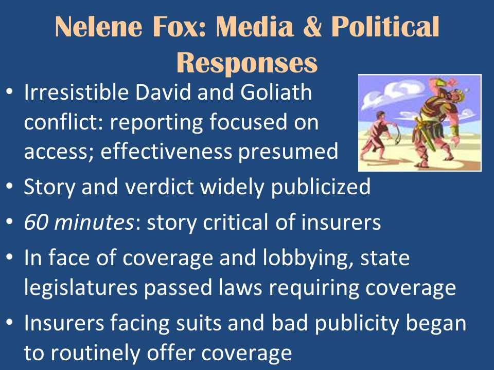 Nelene Fox: Media & Political Responses Irresistible David and Goliath conflict: reporting focused on access; effectiveness presumed Story and verdict