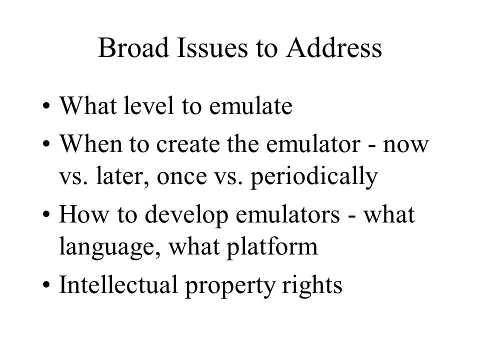 Broad Issues to Address What level to emulate When to create the emulator - now vs.