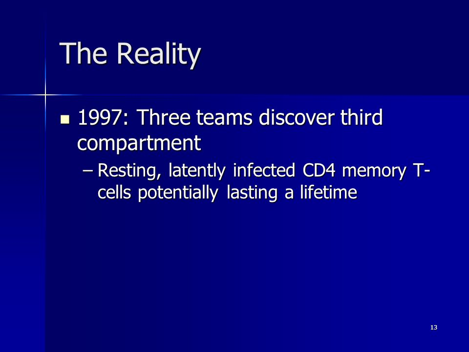 The Reality 1997: Three teams discover third compartment 1997: Three teams discover third compartment –Resting, latently infected CD4 memory T- cells potentially lasting a lifetime –Resting, latently infected CD4 memory T- cells potentially lasting a lifetime 13