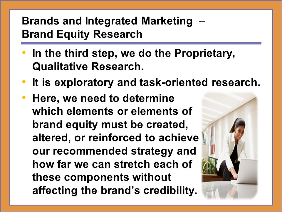 Brands and Integrated Marketing – Developing IMC Strategic Plans Brand Equity Audit Analysis Strategic Options Brand Equity Research 4.