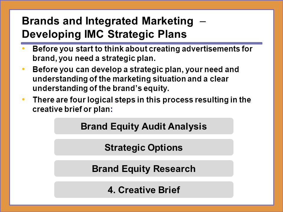 Brands and Integrated Marketing – Creative Brief A Creative Brief (strategy or work plan) is a short statement that clearly defines the audience, how consumers think or feel and behave, what the communication should achieve, and the promise that will create a bond between the consumer and the brand.