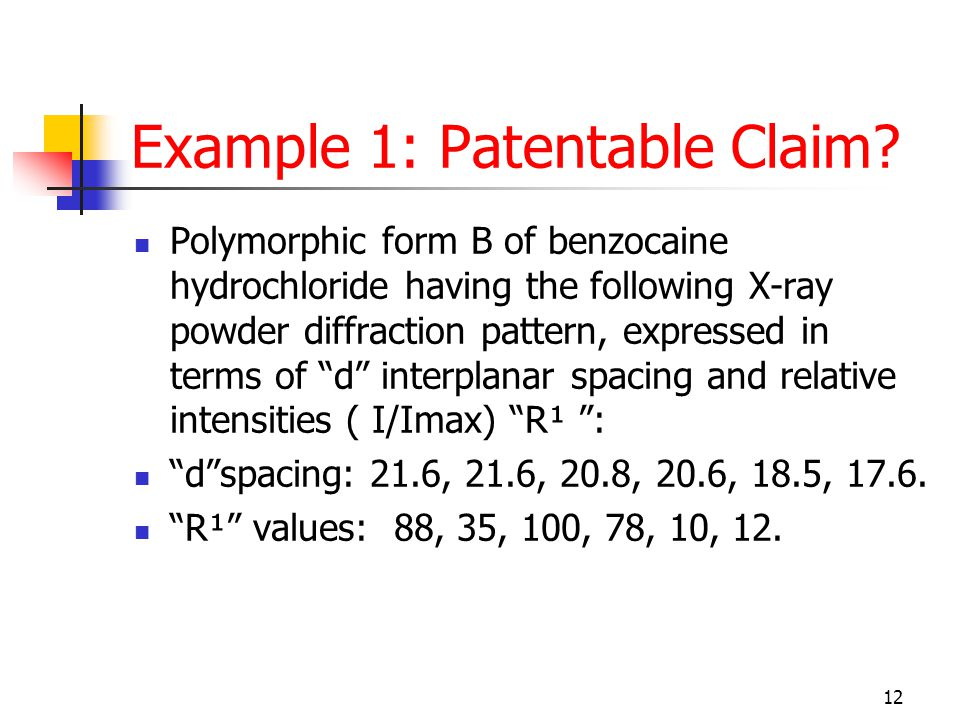 12 Example 1: Patentable Claim.