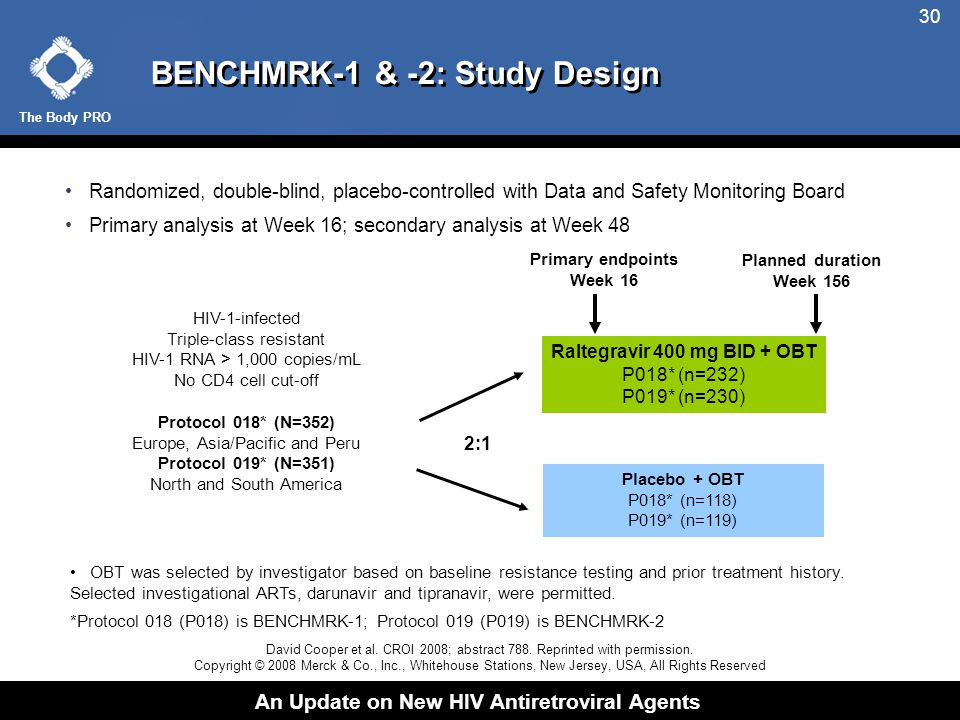 The Body PRO An Update on New HIV Antiretroviral Agents 30 BENCHMRK-1 & -2: Study Design Randomized, double-blind, placebo-controlled with Data and Safety Monitoring Board Primary analysis at Week 16; secondary analysis at Week 48 Raltegravir 400 mg BID + OBT P018* (n=232) P019* (n=230) Placebo + OBT P018* (n=118) P019* (n=119) HIV-1-infected Triple-class resistant HIV-1 RNA > 1,000 copies/mL No CD4 cell cut-off Protocol 018* (N=352) Europe, Asia/Pacific and Peru Protocol 019* (N=351) North and South America 2:1 OBT was selected by investigator based on baseline resistance testing and prior treatment history.