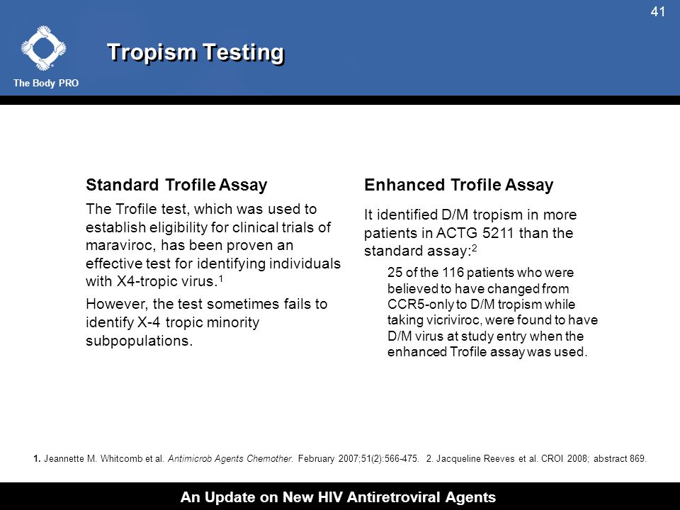 The Body PRO An Update on New HIV Antiretroviral Agents 41 Tropism Testing Standard Trofile Assay The Trofile test, which was used to establish eligibility for clinical trials of maraviroc, has been proven an effective test for identifying individuals with X4-tropic virus.