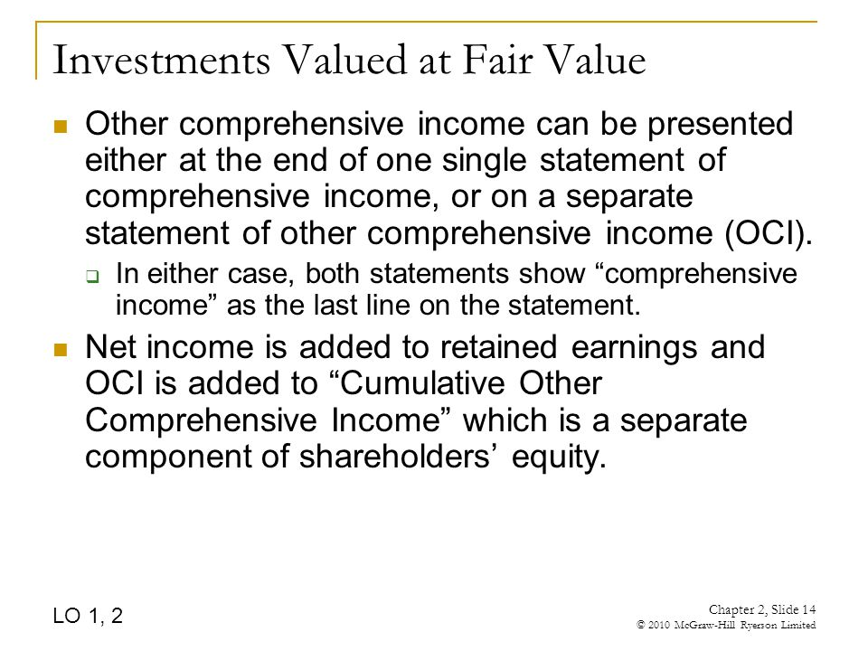 Chapter 2, Slide 14 © 2010 McGraw-Hill Ryerson Limited Investments Valued at Fair Value Other comprehensive income can be presented either at the end of one single statement of comprehensive income, or on a separate statement of other comprehensive income (OCI).