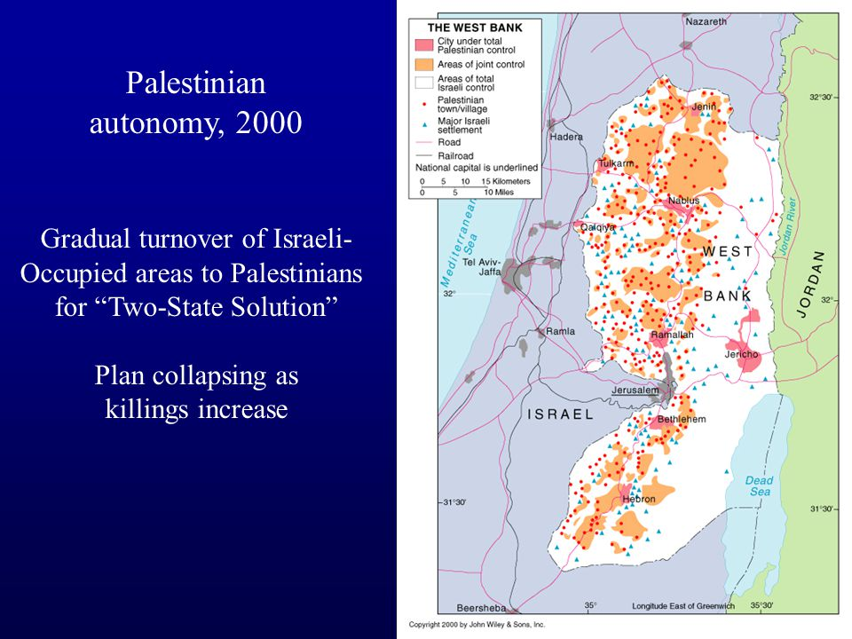 Palestinian autonomy, 2000 Gradual turnover of Israeli- Occupied areas to Palestinians for Two-State Solution Plan collapsing as killings increase