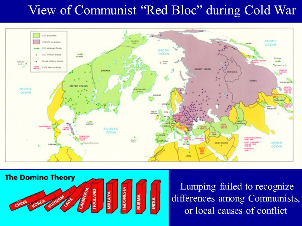 View of Communist Red Bloc during Cold War Lumping failed to recognize differences among Communists, or local causes of conflict