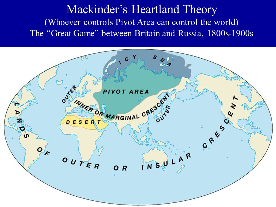 Mackinder's Heartland Theory (Whoever controls Pivot Area can control the world) The Great Game between Britain and Russia, 1800s-1900s