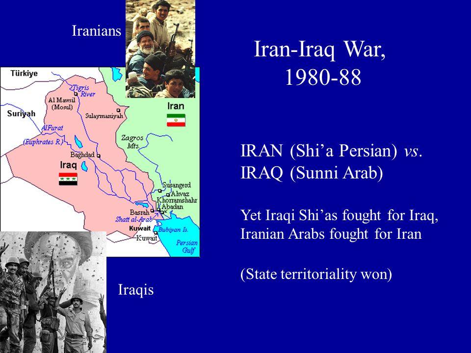 IRAN (Shi'a Persian) vs. IRAQ (Sunni Arab) Yet Iraqi Shi'as fought for Iraq, Iranian Arabs fought for Iran (State territoriality won) Iran-Iraq War, 1