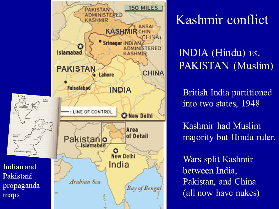 Kashmir conflict (CHINA) INDIA PAKISTAN CHINA KASHMIR INDIA (Hindu) vs.