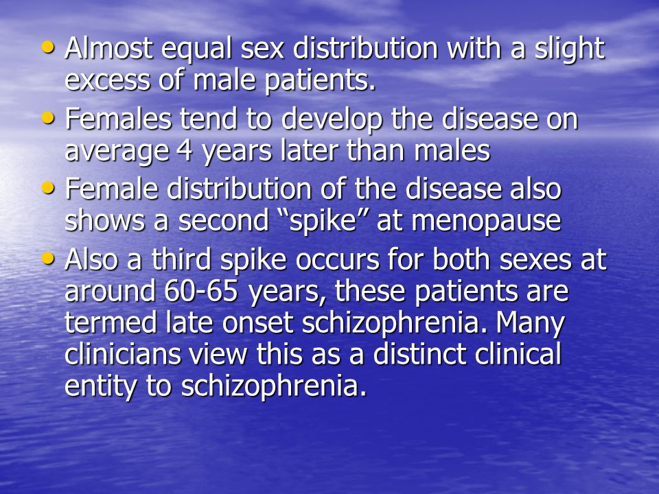 Almost equal sex distribution with a slight excess of male patients.