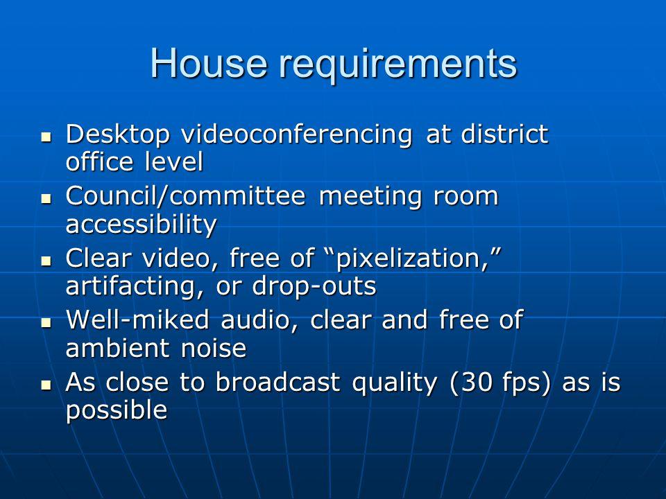 House requirements Desktop videoconferencing at district office level Desktop videoconferencing at district office level Council/committee meeting roo