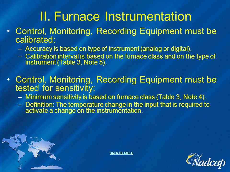 II. Furnace Instrumentation Control, Monitoring, Recording Equipment must be calibrated: –Accuracy is based on type of instrument (analog or digital).
