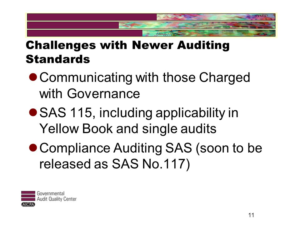 Challenges with Newer Auditing Standards Communicating with those Charged with Governance SAS 115, including applicability in Yellow Book and single audits Compliance Auditing SAS (soon to be released as SAS No.117) 11