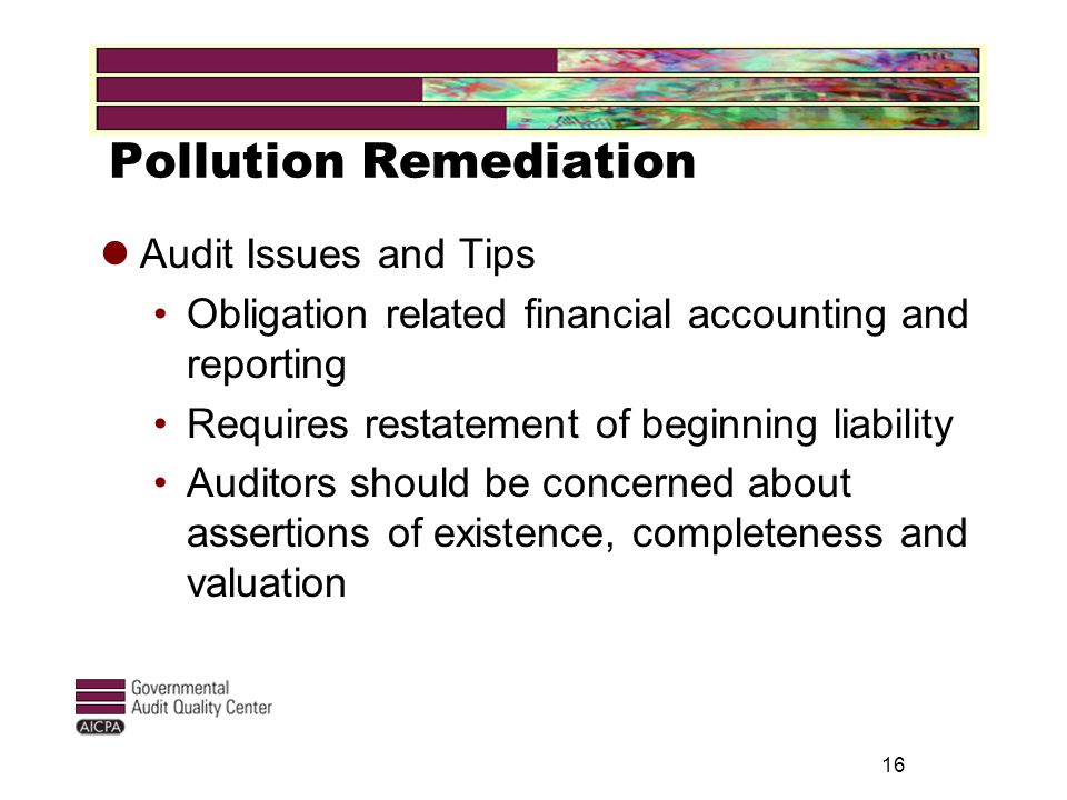 Pollution Remediation Audit Issues and Tips Obligation related financial accounting and reporting Requires restatement of beginning liability Auditors should be concerned about assertions of existence, completeness and valuation 16