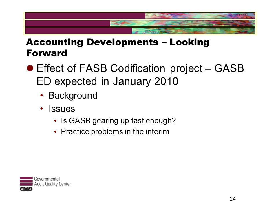 Accounting Developments – Looking Forward Effect of FASB Codification project – GASB ED expected in January 2010 Background Issues Is GASB gearing up fast enough.