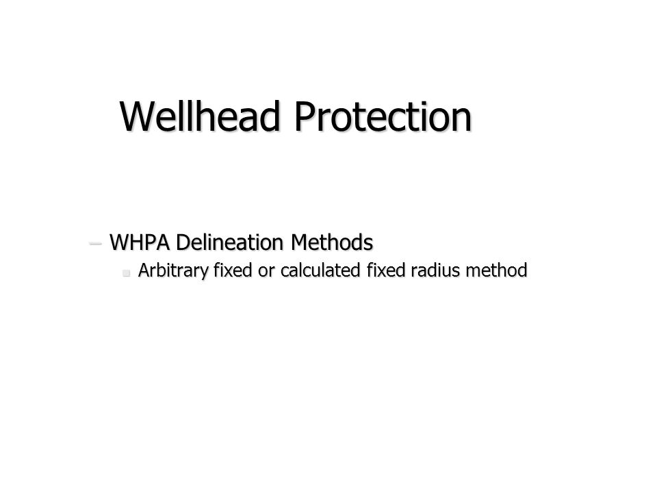 Wellhead Protection