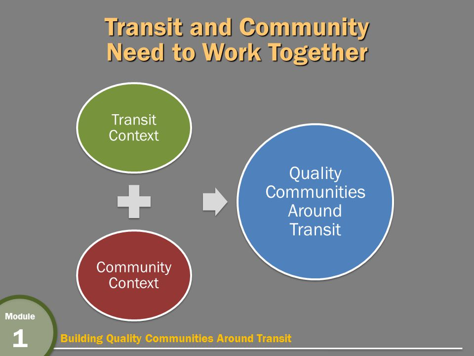 Building Quality Communities Around Transit Module 1 Transit and Community Need to Work Together Transit Context Community Context Quality Communities Around Transit