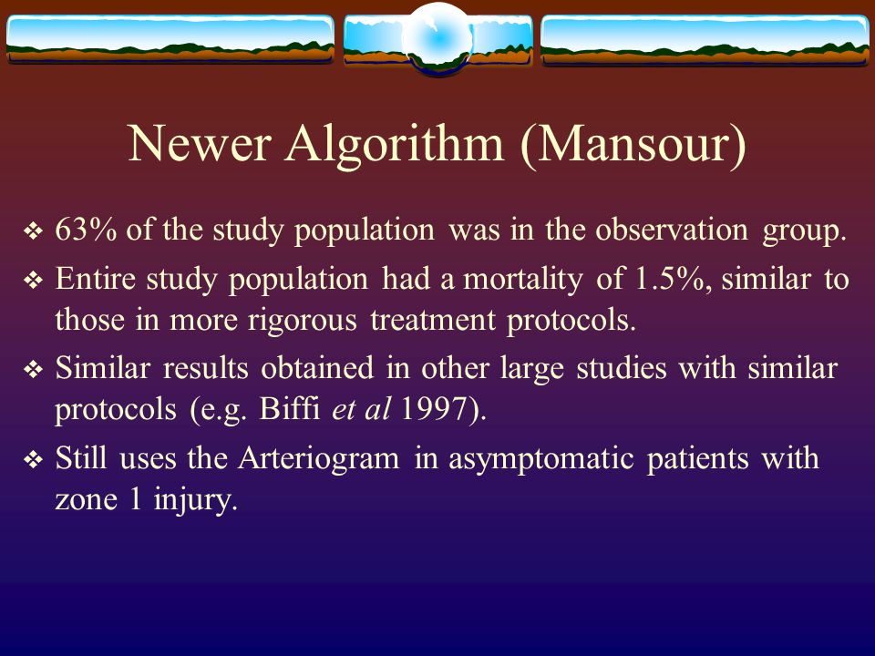 Newer Algorithm (Mansour)  63% of the study population was in the observation group.