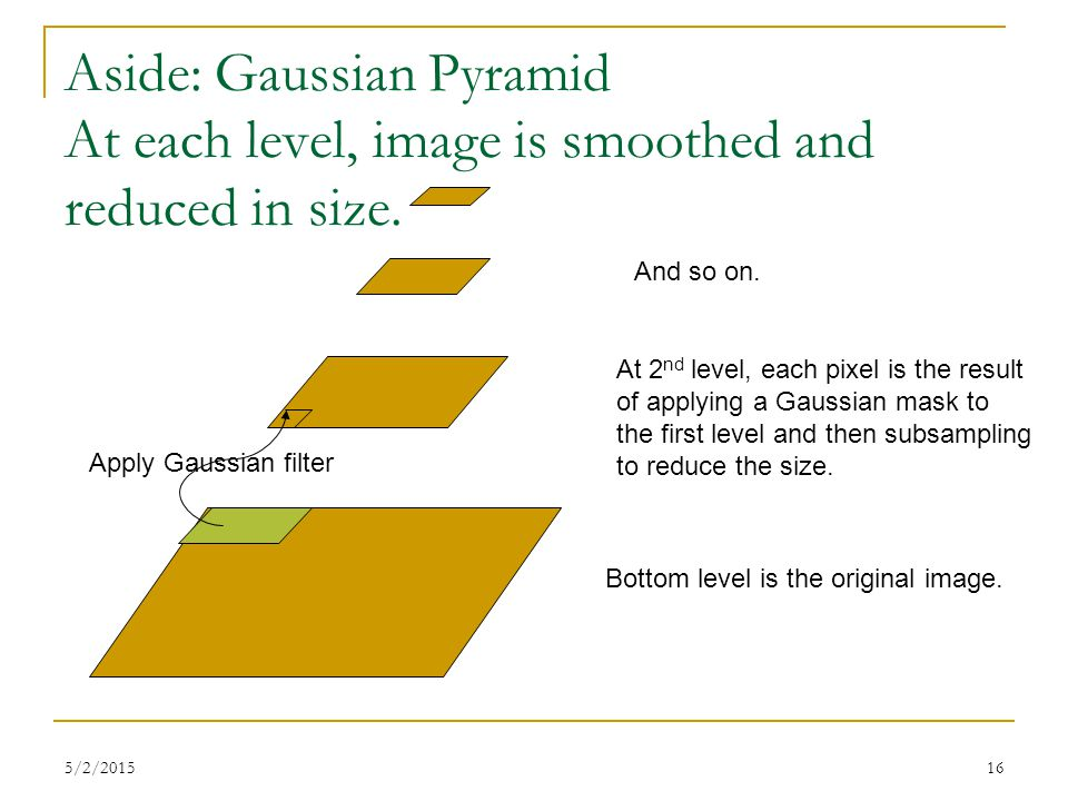 5/2/201516 Aside: Gaussian Pyramid At each level, image is smoothed and reduced in size. Bottom level is the original image. At 2 nd level, each pixel