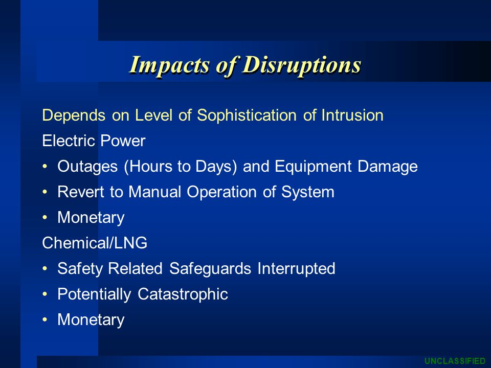 UNCLASSIFIED Impacts of Disruptions Depends on Level of Sophistication of Intrusion Electric Power Outages (Hours to Days) and Equipment Damage Revert to Manual Operation of System Monetary Chemical/LNG Safety Related Safeguards Interrupted Potentially Catastrophic Monetary