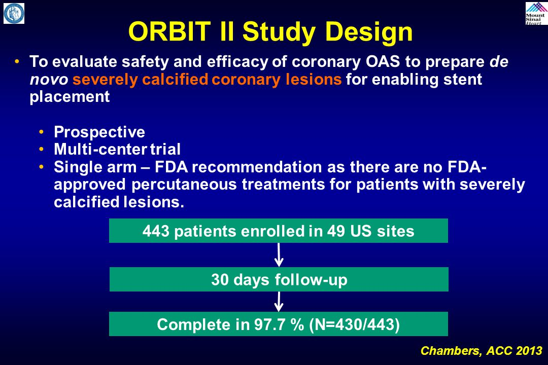 Chambers, TCT 2012 ORBIT II Study Design Primary Safety Endpoint: 30-Day MACE  Cardiac death  MI defined as CK-MB level > 3 times upper limit of lab normal (ULN) value With or without abnormal Q-wave  Target vessel revascularization (TVR) Primary Efficacy Endpoint: Procedural Success  Success in facilitating stent delivery with a final residual stenosis of <50% and without in-hospital MACE
