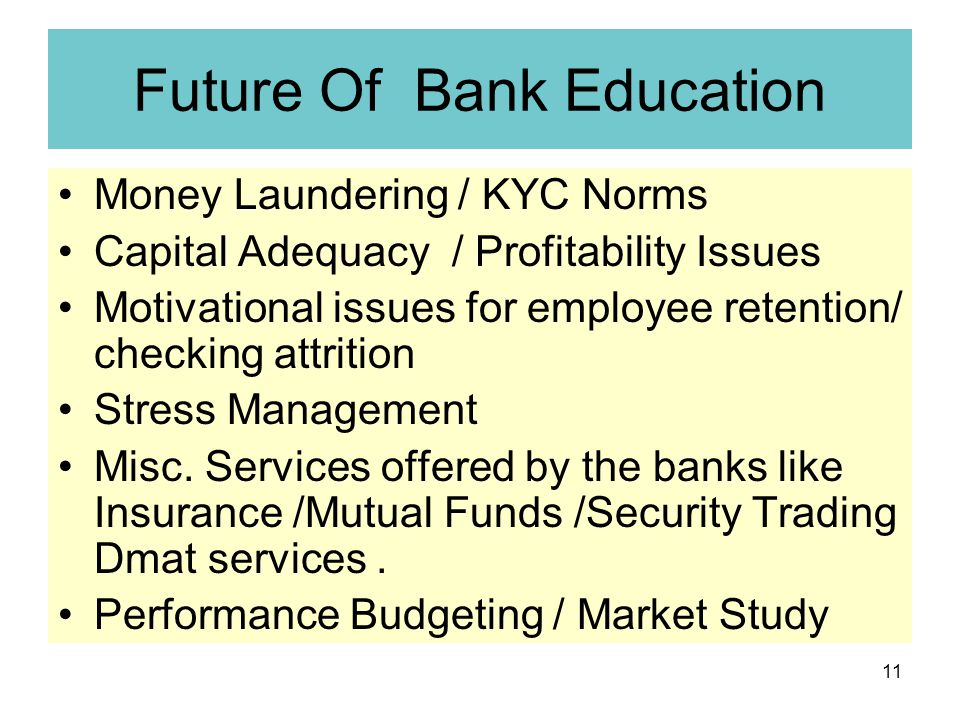 11 Future Of Bank Education Money Laundering / KYC Norms Capital Adequacy / Profitability Issues Motivational issues for employee retention/ checking attrition Stress Management Misc.