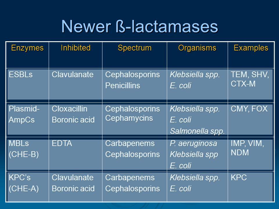 1212 Newer ß-lactamases EnzymesInhibitedSpectrumOrganismsExamples ESBLsClavulanateCephalosporinsPenicillins Klebsiella spp.
