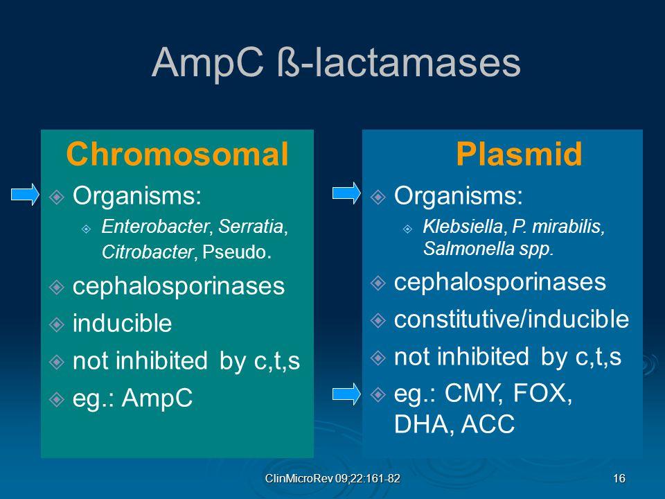 16 ClinMicroRev 09;22:161-82 AmpC ß-lactamases Chromosomal  Organisms:  Enterobacter, Serratia, Citrobacter, Pseudo.