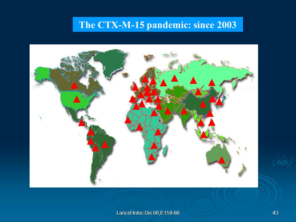 43 Lancet Infec Dis 08;8:159-66 The CTX-M-15 pandemic: since 2003
