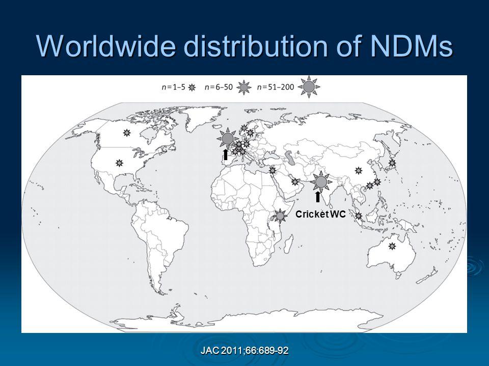 JAC 2011;66:689-92 Worldwide distribution of NDMs Cricket WC