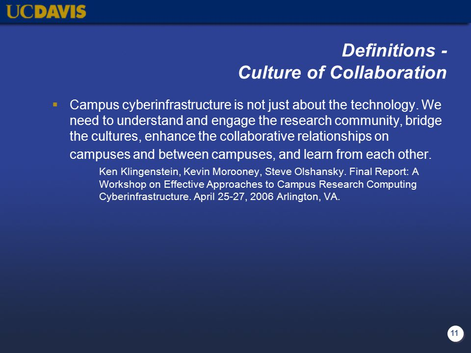11 Definitions - Culture of Collaboration  Campus cyberinfrastructure is not just about the technology.