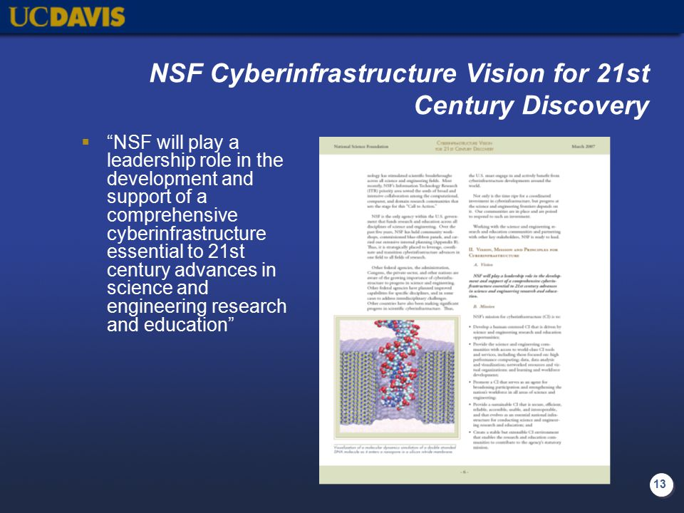 "13 NSF Cyberinfrastructure Vision for 21st Century Discovery  ""NSF will play a leadership role in the development and support of a comprehensive cybe"
