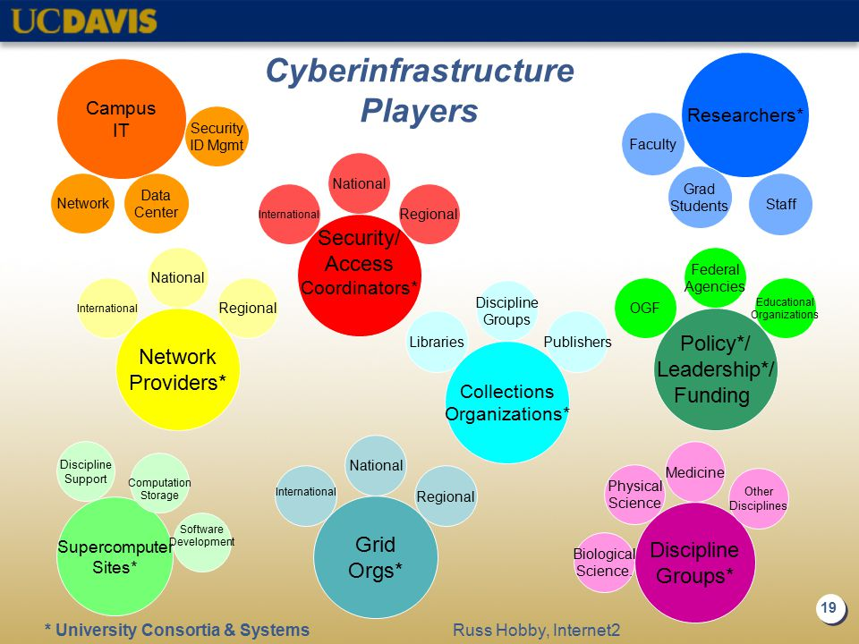 19 Cyberinfrastructure Players Medicine Discipline Groups* Biological Science. Physical Science Grid Orgs* National Regional International Supercomput