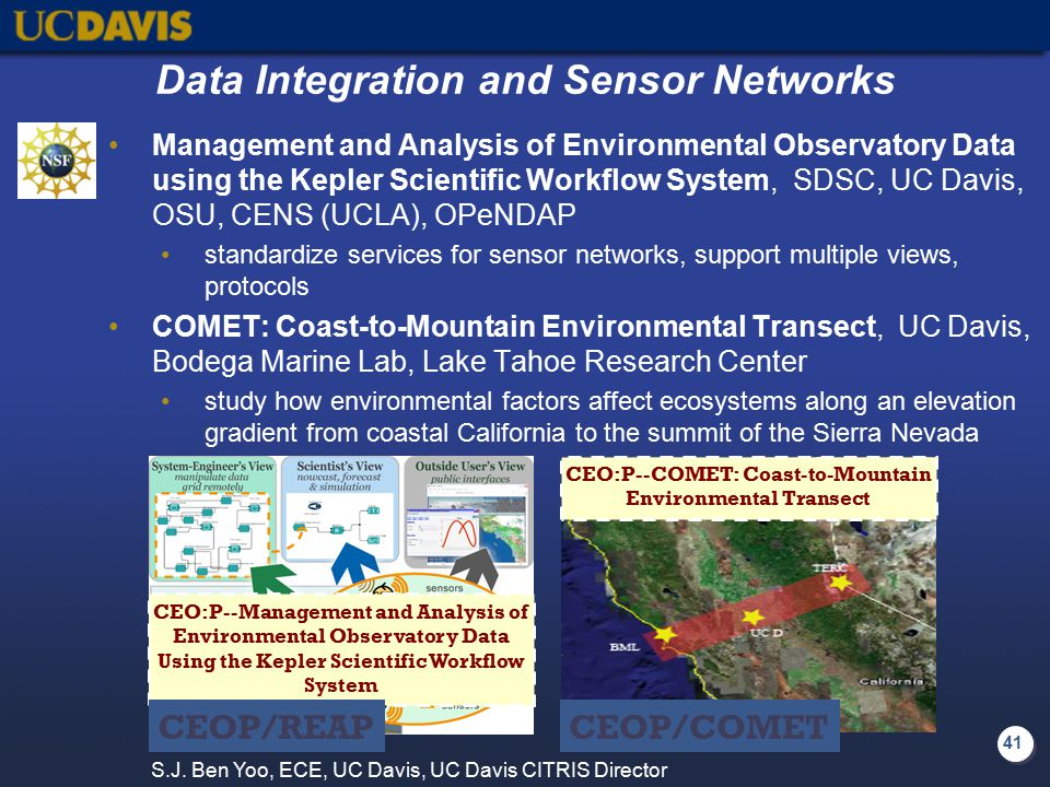 41 Data Integration and Sensor Networks Management and Analysis of Environmental Observatory Data using the Kepler Scientific Workflow System, SDSC, U
